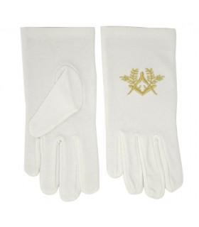 Luvas brancas maçônicos com esquadro e compasso bordados em dourado