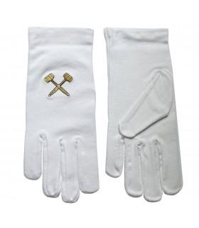 Luvas brancas maçônicos com baralhos bordados em dourado