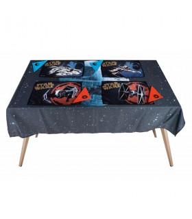 Conjunto toalha de mesa, 4 salva-toalhas de mesa e guardanapos Star Wars estrela da morte