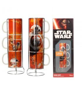Conjunto de 3 copos empilháveis cerâmica BB-8 clones de Star Wars. Ep VII