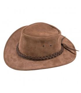 Chapéu marrom de cowboy no velho oeste