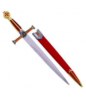 A espada Templária dourada, punho veludo