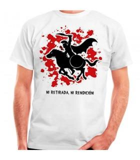 T-shirt branca Espartano a Cavalo: nem retirada, ou prestação