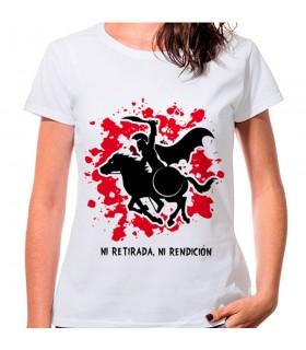 T-shirt de mulher Espartano a Cavalo: nem retirada, ou prestação