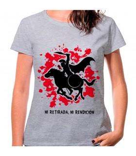 T-shirt de mulher Espartano a Cavalo Cinza: nem retirada, ou prestação