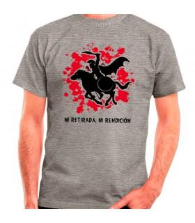 T-shirt Cinza Espartano a Cavalo: nem retirada, ou prestação