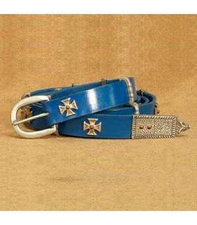Cinto Cruz de Malta, couro azul