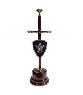Miniespada com miniescudo e peanha de Carlos V