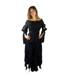 Blusa medieval mangas longas Vitória, preto