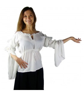 Blusa medieval mangas longas Vitória, branco