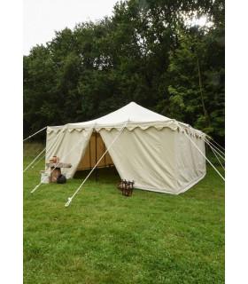 Tenda medieval Herold de 6 x 6 m. algodão branco natural