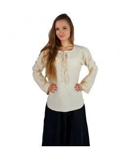 Blusa modelo medieval Tilda, cor branco natural