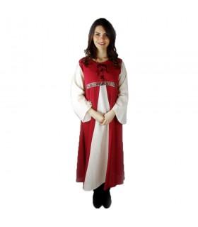 Vestido medieval bicolor modelo Donna, vermelho-branco natural