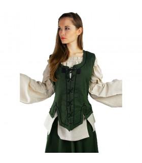 Colete medieval mulher modelo Selma, verde