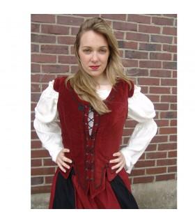 Colete medieval modelo Adrienne, vermelho