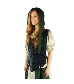 Crespina medieval mulher modelo Alex, verde