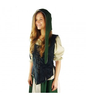 Crespina medieval mulher modelo Alex, o verde e o branco natural