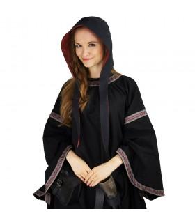 Crespina medieval mulher modelo Alex, preto e vermelho