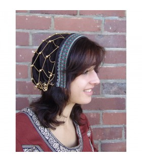 Coifa medieval de nobre Elaine, cor marrom