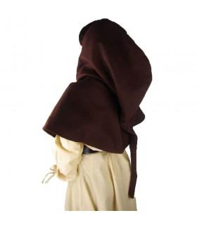 Gugel medieval de lã modelo Anita, marrom escuro