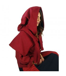 Gugel medieval de lã modelo Anita, vermelho
