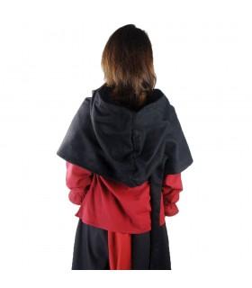 Gugel medieval de lã modelo Anita, preto