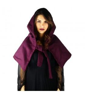 Gugel medieval de lã modelo Anita, roxo