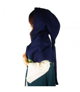 Gugel medieval de lã modelo Anita, azul