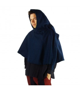 Gugel medieval de lã modelo Paul, azul