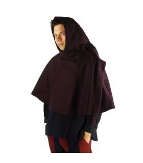 Gugel medieval de lã modelo Paul, marrom escuro