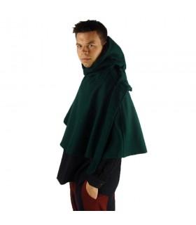 Gugel medieval de lã modelo Paul, verde