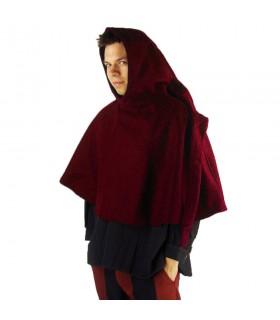 Gugel medieval de lã modelo Paul, vermelho