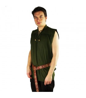 Camisa medieval verde sem mangas, modelo Louis