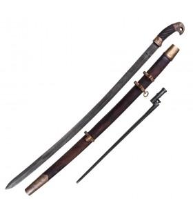 Sabre Shashka envelhecido, com baioneta