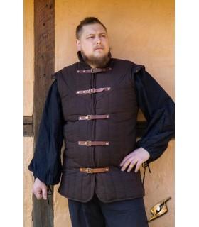 Gambesón de Guerreiro medieval sem mangas, cor marrom