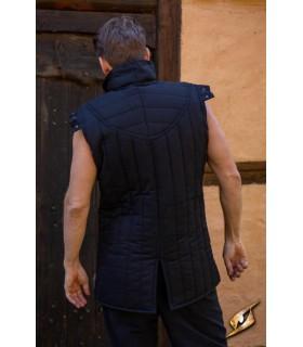 Gambesón de Guerreiro medieval sem mangas, cor preto