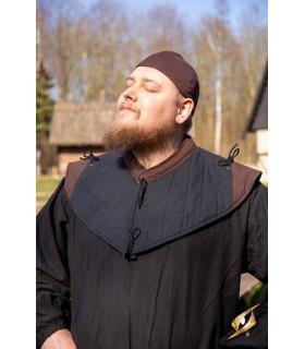 Gorjal medieval estofamento, preto, marrom