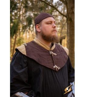 Gorjal medieval estofamento, marrom-castanho claro