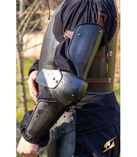 Protetores medievais de braço, acabamento preto