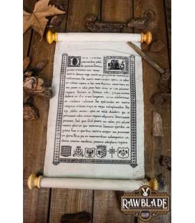 Pergaminho medieval com fecho de couro