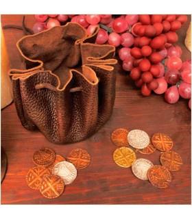 Saco viking de couro com 8 moedas