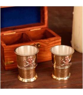 Conjunto de vasos Capitão Pirata com caixa de madeira