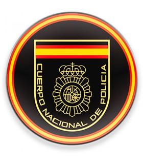 Ímã Corpo Nacional da Polícia Espanhola CNP, fundo preto, para frigorífico
