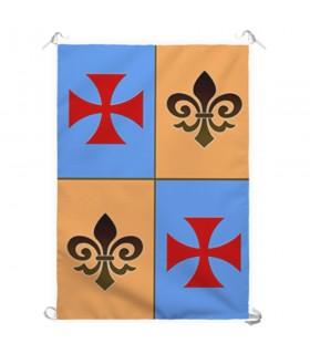 Estandarte Medieval Cuartelado Cruz Templária (70x100 cms.)