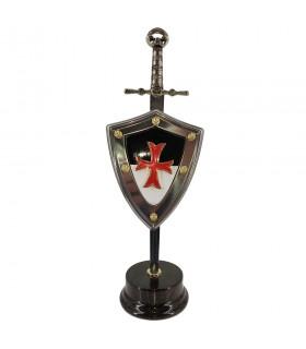 Set Templário, abre-cartas com escudo e stand