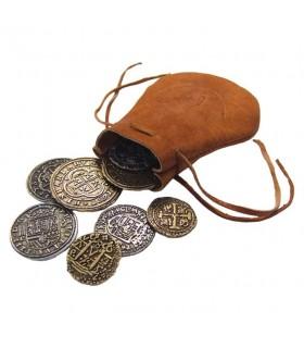 bolsa de couro com 8 moedas espanholas