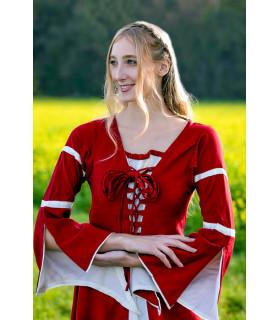 Mulher no vestido medieval Red-Cream