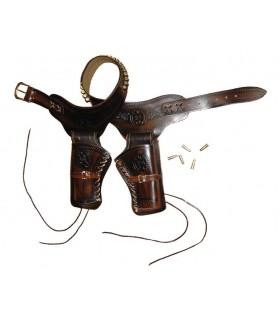 cartucheira de couro para 2 revólveres 24 balas
