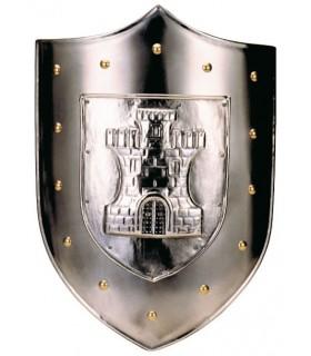 escudo gravado com castelo tachas douradas