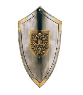 Escudo com gravada águias douradas e pregos em torno de
